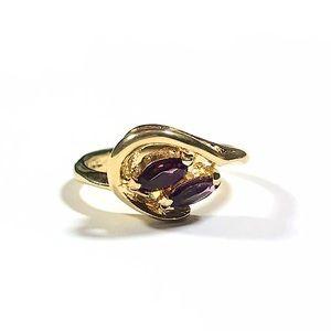 Vintage 10K HGF Yellow Gold Amethyst Ring